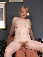 Blonde mature Maria meets up with a horny hottie and later got gooed and screwed in this porn story