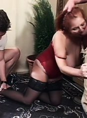 Slutty gilf Jakie goes for a raunchy threesome and got her holes simultaneously dicked